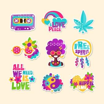 Un conjunto de insignias brillantes con temática hippy
