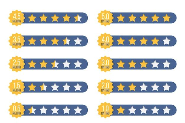 Conjunto de insignias de calificación de estrellas en un diseño plano