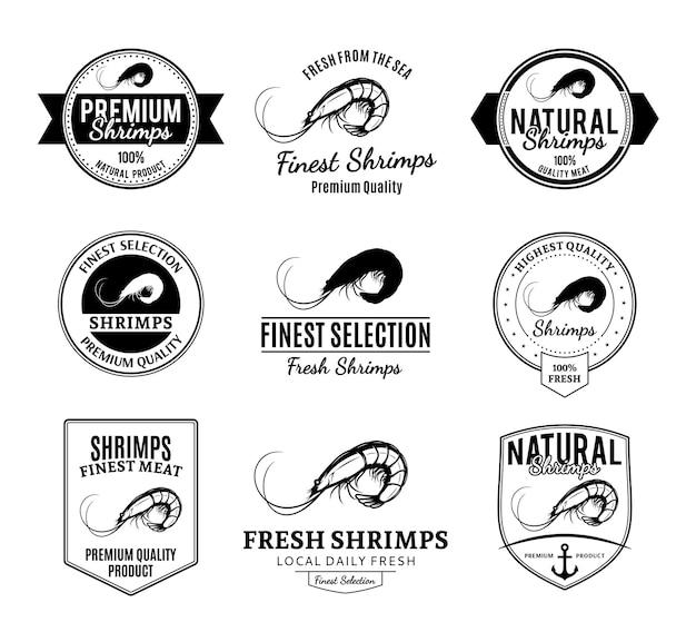 Conjunto de insignias de camarones y elementos de diseño.