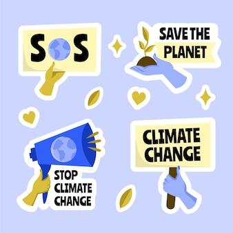 Conjunto de insignias de cambio climático dibujadas a mano