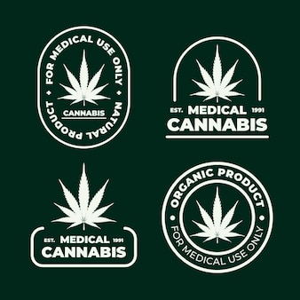 Conjunto de insignias de cannabis medicinal.
