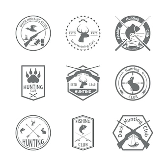 Conjunto de insignias de caza.