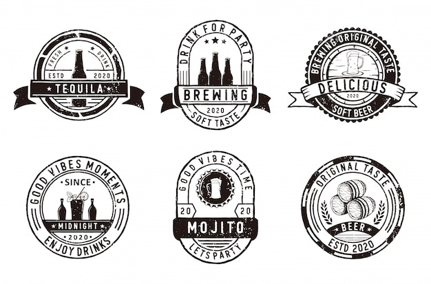 Conjunto de insignias cervecería, emblemas de tienda de cerveza y logotipo.