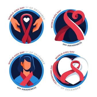Conjunto de insignias de cintas del día mundial del sida.