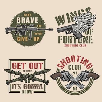 Conjunto de insignias coloridas militares vintage