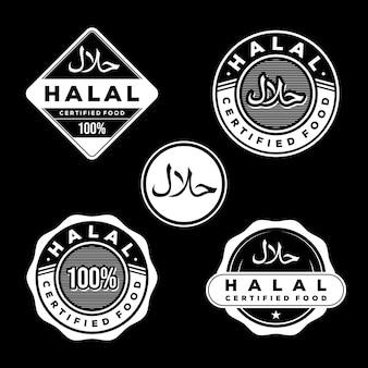 Conjunto de insignias de comida certificada halal