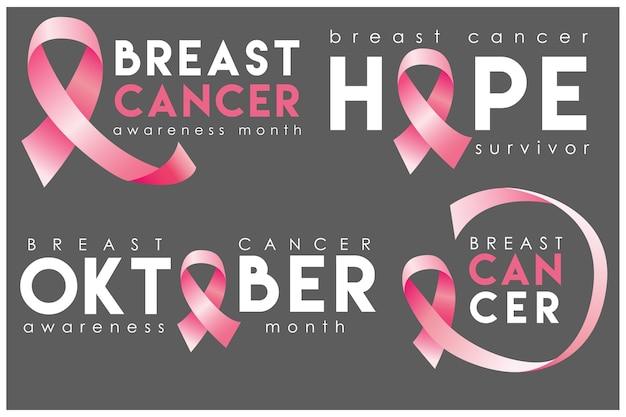 Conjunto de insignias de conciencia de cáncer de mama