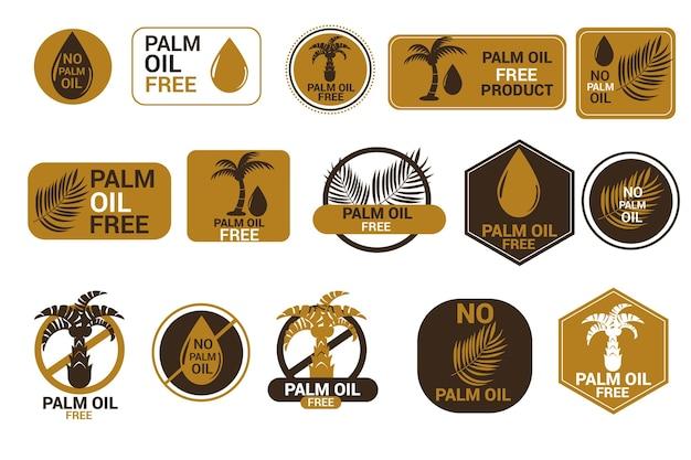 Conjunto de insignias creativas de aceite de palma.