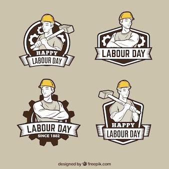 Conjunto de insignias de día laboral en estilo vintage