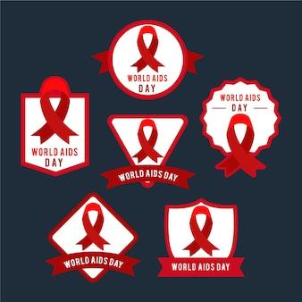 Conjunto de insignias del día mundial del sida.