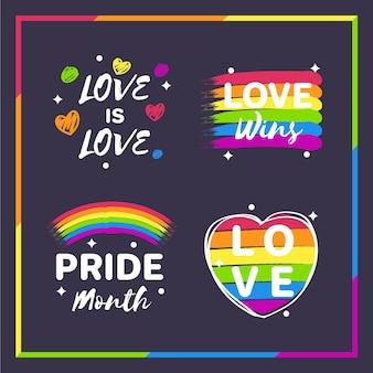 Conjunto de insignias del día del orgullo
