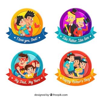 Conjunto de insignias de día del padre con elementos diferentes