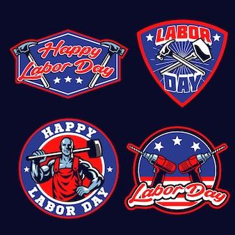 Conjunto de insignias del día del trabajo