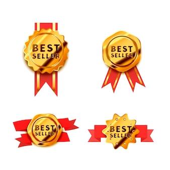 Conjunto de insignias doradas brillantes con cinta roja, iconos de best seller brillantes aislados en blanco