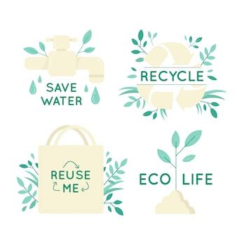 Conjunto de insignias de ecología dibujadas a mano