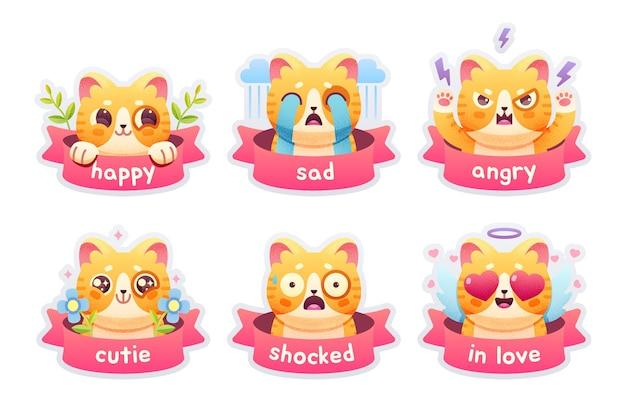 Conjunto de insignias de emoticonos de gato lindo, parches, pegatinas. ilustración vectorial