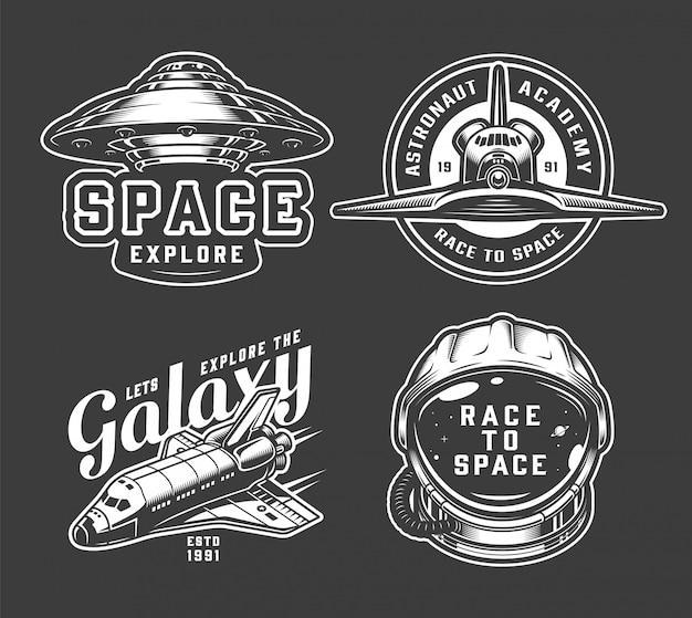 Conjunto de insignias de espacio monocromo vintage