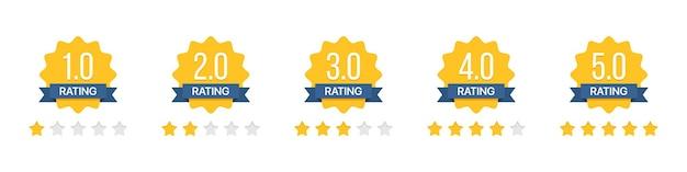 Conjunto de insignias de estrellas de calificación con cinta en un diseño plano