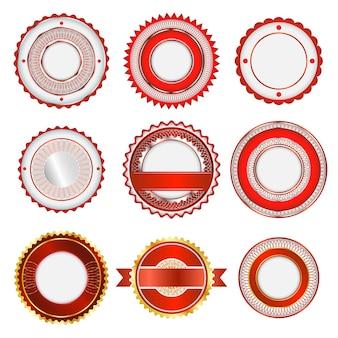 Conjunto de insignias, etiquetas y adhesivos sin texto. en color rojo.