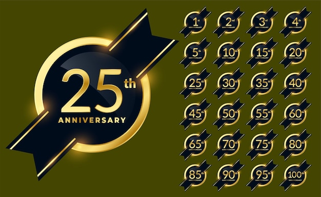Conjunto de insignias de etiquetas de aniversario de oro brillante