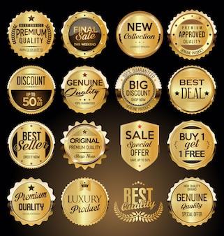 Conjunto de insignias y etiquetas doradas premium