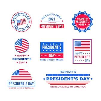Conjunto de insignias del evento del día del presidente.