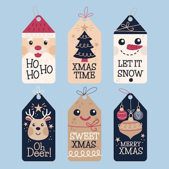 Conjunto de insignias de feliz navidad dibujadas a mano