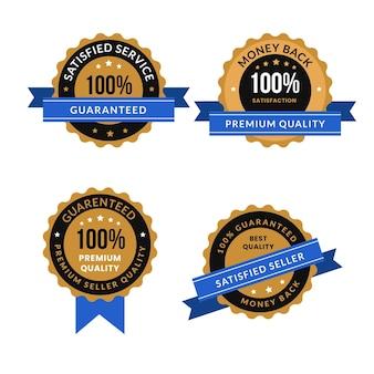 Conjunto de insignias de garantía al cien por cien.