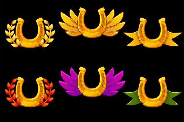 Conjunto de insignias de herradura de oro con alas. ilustración de colección de herradura.