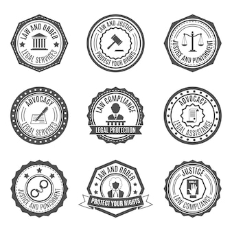 Conjunto de insignias de ley.