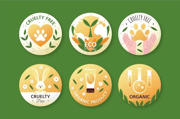 Conjunto de insignias libres de crueldad dibujadas a mano