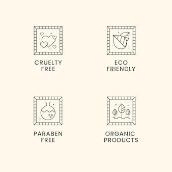 Conjunto de insignias libres de crueldad en diseño plano