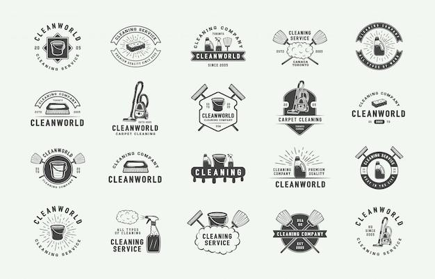 Conjunto de insignias de logo de limpieza retro.