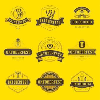 Conjunto de insignias y logotipos de oktoberfest