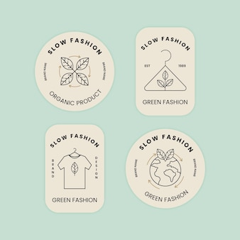 Conjunto de insignias de moda plana lenta