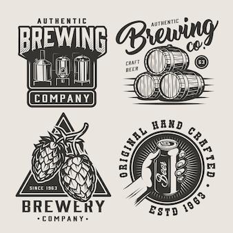Conjunto de insignias monocromo de cerveza vintage
