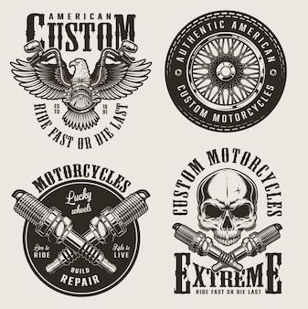 Conjunto de insignias de motocicletas personalizadas vintage