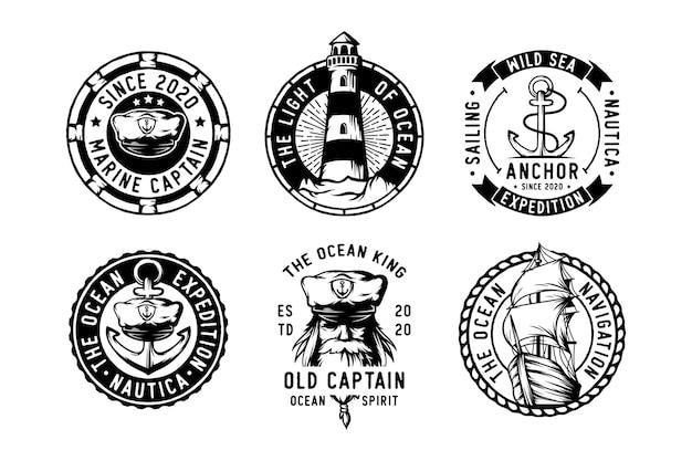Conjunto de insignias de navegación etiquetas emblemas y logotipo.