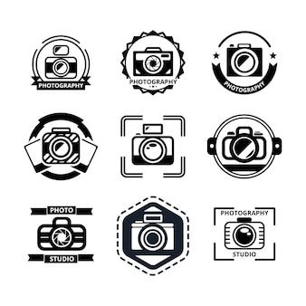 Conjunto de insignias o logotipos de fotografía vintage.