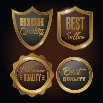 Conjunto de insignias de oro