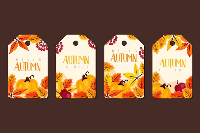 Conjunto de insignias de otoño dibujadas a mano