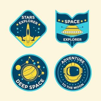 Conjunto de insignias de parche de misión espacial y emblemas de logotipo