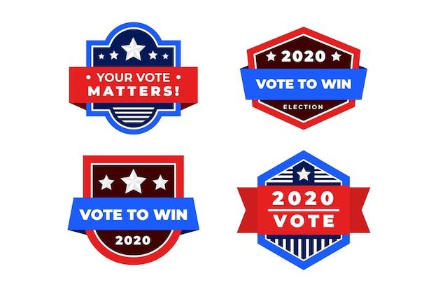 Conjunto de insignias y pegatinas de votación.