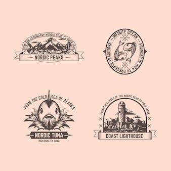 Conjunto de insignias de pesca vintage