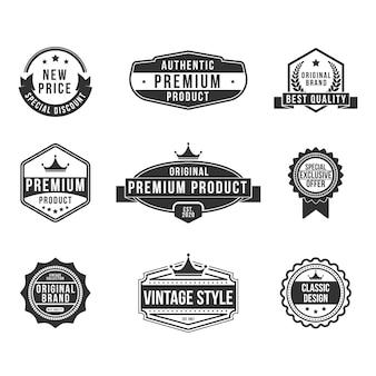 Conjunto de insignias planas de productos premium vintage