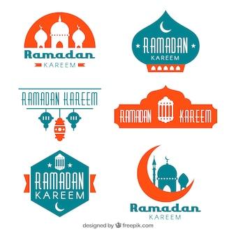 Conjunto de insignias de ramadán en estilo plano