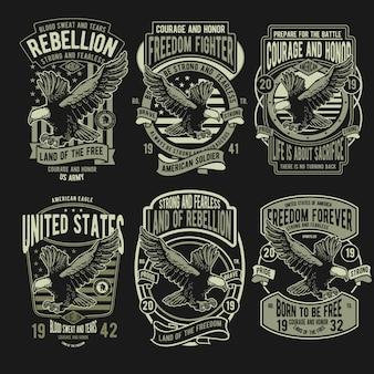 Conjunto de insignias rebellion eagle