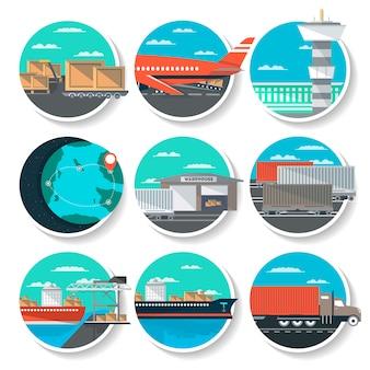 Conjunto de insignias redondas de logística y envío mundial