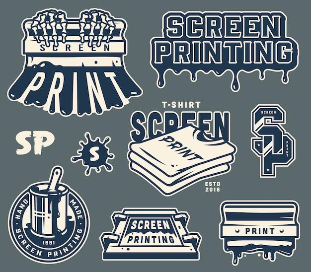 Conjunto de insignias de serigrafía vintage
