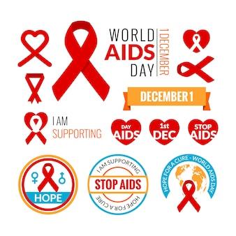 Conjunto de insignias del sida. colección de vectores